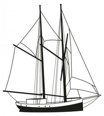 Naklejka Segelboot Segelschiff Sylwetka Schiff Boot