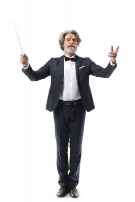 Naklejka Senior male conductor on white background