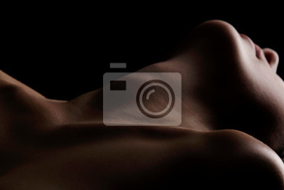 Naklejka Sensual picture of woman's neck. Nude photography with visible collarbones.