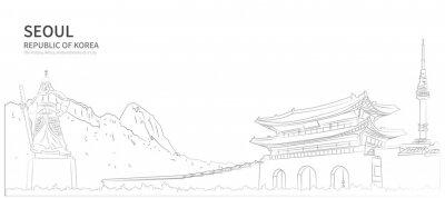 Naklejka Seoul cityscape line vector. sketch style south korea landmark illustration