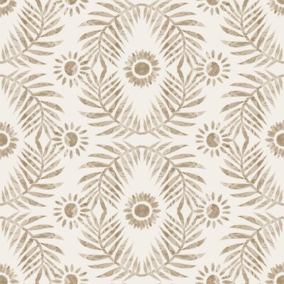 Naklejka Sepia brown marble foliage seamless pattern. Subtle 2 tone leaf motif in simple textured matisse paper cut style. All over decorative print. Minimal beige ecru paper jpg swatch tile.