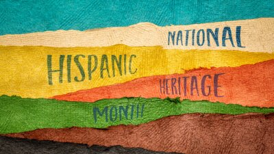 Naklejka September 15 - October 15, National Hispanic Heritage Month - handwriting in Huun paper handmade in Mexico, reminder of cultural event