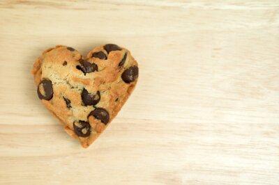Naklejka Serce słodkie ciasteczko na tle drewna