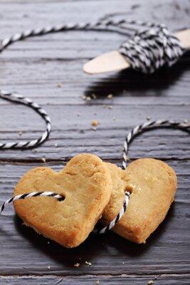 Naklejka Serce w kształcie ciasteczka cukrowe wiązanej z liny.