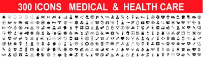 Naklejka Set 300 Medicine and Health care flat icons. Collection health care medical sign icons – stock vector