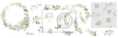Naklejka Set. Arrangement of decorative leaves and gold elements. Collection: leaves, twigs, herbs, leaf compositions, gold, wreath. Vector design.