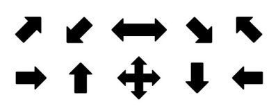 Naklejka Set arrow icon. Collection different arrows sign of the right, left, up, down direction. Black vector abstract elements isolated on white background