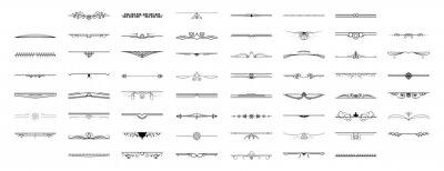 Naklejka Set Black Simple Line Collection Doodle Border Elements Vector Design Style Sketch Isolated Illustration For Banner