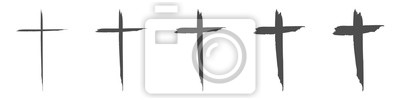 Naklejka Set hand drawn cross. Vector cross. The cross is made with a brush.