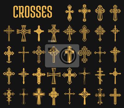 Naklejka Set odosobneni krzyże chrześcijańska religia