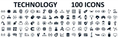 Naklejka Set of 100 technology icons. Industry 4.0 concept factory of the future. Technology progress: 5g, ai, robot, iot, near field communication, programming and many more - stock vector