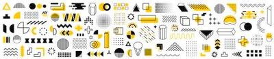 Naklejka Set of 115 geometric shapes icons. Memphis design retro elements. Collection trendy halftone geometric shapes. Retro funky graphic, 90s trends designs and vintage print element collection