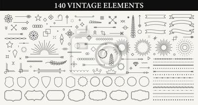 Naklejka Set of 140 Vintage line elements. Retro design elements. Ornaments and Frames. Drawing geometrics line. Decoration, banners, posters, emblems, labels. Vector illustration.