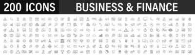 Naklejka Set of 200 Business icons. Business and Finance web icons in line style. Money, bank, contact, infographic. Icon collection. Vector illustration.