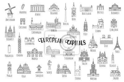 Naklejka Set of 37 hand drawn landmarks from various European capitals, black ink illustrations