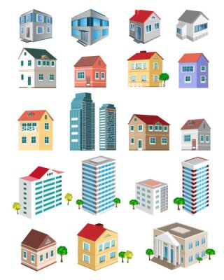 Naklejka Set of 3d detailed buildings with different types of perspective
