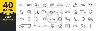 Naklejka Set of 40 Cars and transport web icons in line style. Airplane, bus, parking, travel, train, comfortable. Vector illustration.