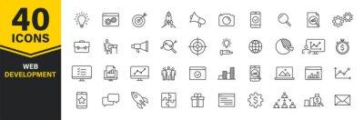 Naklejka Set of 40 Web development web icons in line style. Marketing, analytics, e-commerce, digital, management, seo. Vector illustration.