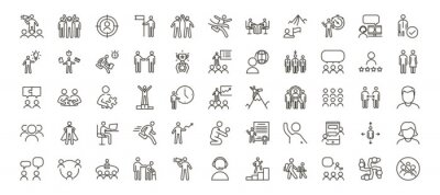 Naklejka Set of 55 people icons. Vector thin line illustrations for concepts related with people, business, success, teamwork, workplace, diversity and many others