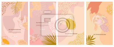 Naklejka Set of abstract background with tropical elements, shapes and girl portrait in one line style. Background for mobile app page minimalistic style. Vector illustration