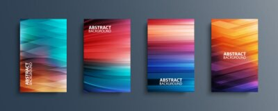 Naklejka Set of abstract color backgrounds with wave or line patterns. Colorful gradient covers collection for brochures, posters, banners, flyers and cards. Vector illustration.