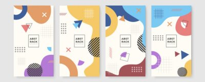 Naklejka Set of abstract creative Memphis geometric universal artistic templates background. Good for poster, card, invitation, flyer, cover, banner, placard, brochure and other graphic design