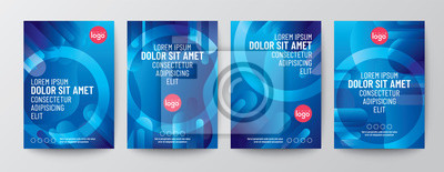 Naklejka Set of abstract round shape graphic elements on blue background for Brochure, Flyer, Poster, leaflet, Annual report, Book cover, Graphic Design Layout template, A4 size