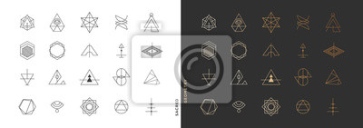 Naklejka Set of abstract sacred geometry symbol vector elements template, clean minimal geometric logo collection