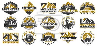 Naklejka Set of Adventure and outdoor vintage logo template, badge or emblem style