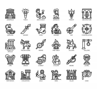 Naklejka Set of ancient greece thin line and pixel perfect icons for any web and app project.