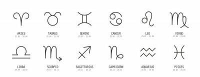 Naklejka Set of astrological zodiac symbols. horoscope zodiac signs