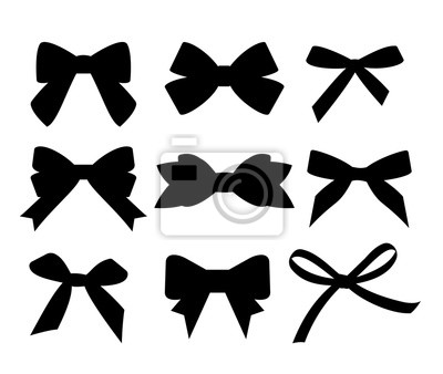 Naklejka Set of black silhouette gift bows. Vector illustration. Concept for invitation, banners, gift cards, congratulation or website layout vector.