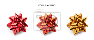 Naklejka Set of bows pink, red and gold color metallic with shadow on isolated white background. Realistic vector decoration for holiday