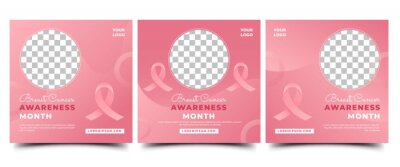 Naklejka Set of Breast cancer awareness month social media post template. Modern gradient pink background with ribbon and place for the photo. Usable for social media, banner, card, and website.
