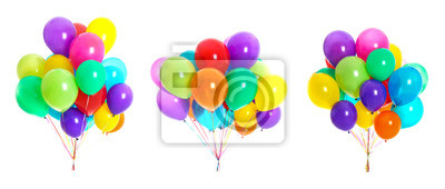 Naklejka Set of bunches with colorful air balloons on white background