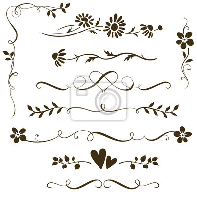 Naklejka Set of calligraphic floral elements with hearts for wedding invitation design. Vector decorative ornament with flower silhouette. Dividers and frame elements