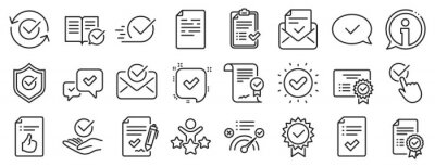 Naklejka Set of Checklist, Certificate and Award medal icons. Approve line icons. Certified document, Accepted approve and Confirm mail. Guarantee, Check mark and Correct agreement. Checklist document. Vector