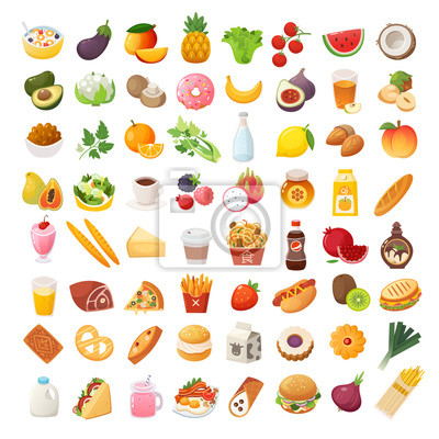 Naklejka Set of colorful food icons. Bakery, dairy food, fruit and vegetables. Desserts fast food and pasta images. Isolated vector cartoon icons on white background.
