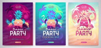 Naklejka Set of Colorful summer disco party posters with fluorescent tropic leaves, pineapple and flamingo. Summertime backgrounds