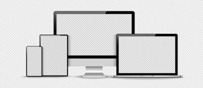 Naklejka Set of compute, laptop, smartphone with empty screens. Design on transparent background. . Vector illustration