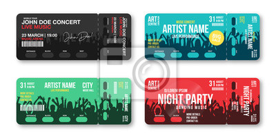 Naklejka Set of concert tickets template. Concert, party, disco or festival ticket design template with people crowd on background. Entrance to the event