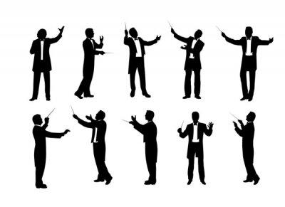 Naklejka set of conductor silhouettes vector illustration