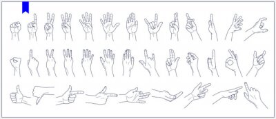 Naklejka Set of contours of human hands, signs and gestures isolated vector illustrations on a white background