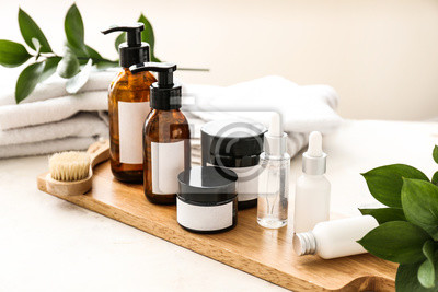 Naklejka Set of cosmetics for personal hygiene on table