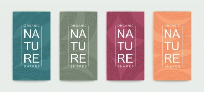 Naklejka Set of covers with pattern of organic lines and shapes. Natural hand painted linear design. Minimalistic trendy style. Vector graphics