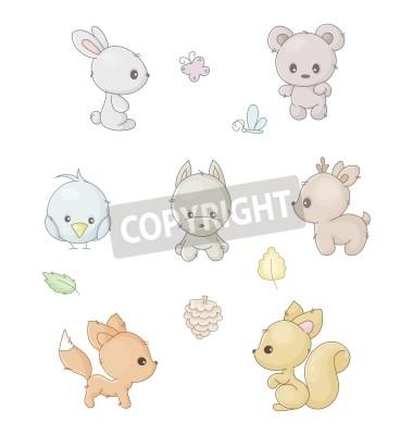 Naklejka set of cute forest animals