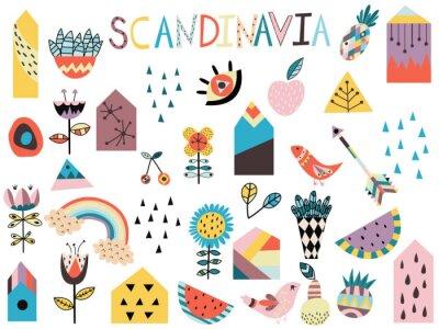 Naklejka Set of cute scandinavian style elements. Hand drawn vector illustration.