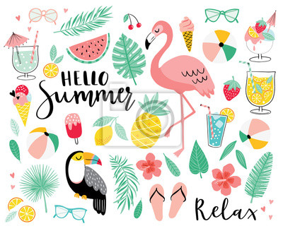Naklejka Set of cute summer icons. Hand drawn vector illustration.  Flamingo, toucan, tropical palm leaves, fruits, food, drinks. Summertime poster, scrapbooking elements.