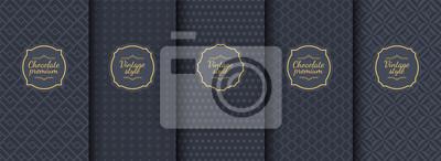 Naklejka Set of dark vintage seamless backgrounds for luxury packaging design.