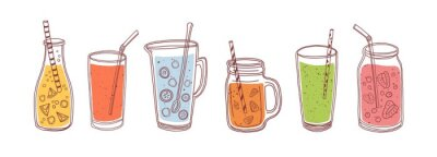 Naklejka Set of detox drinks, fruit smoothies, organic lemonades in glass bottles, jars and jugs with straws. Refreshing summer homemade beverages. Colored flat vector illustration isolated on white background